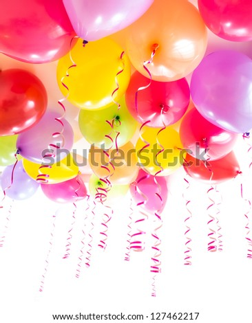 balloons with streamers for birthday party celebration isolated on white - stock photo