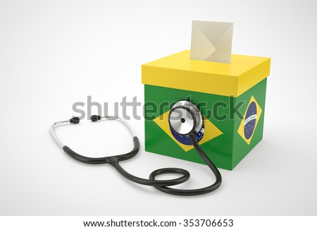 Ballot box and stethoscope for Brazil. - stock photo