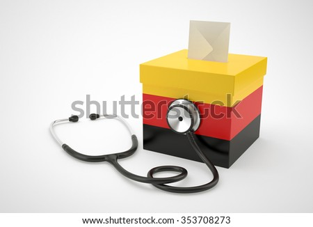 Ballot box and stethoscope for German - stock photo