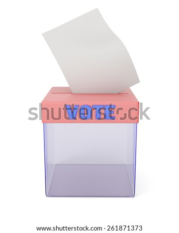 Ballot box isolated on white. 3d render - stock photo