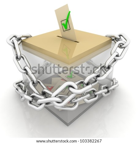 Ballot box isolated on white with chain - 3d illustration - stock photo