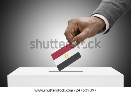 Ballot box painted into national flag colors - Arab Republic of Egypt - stock photo