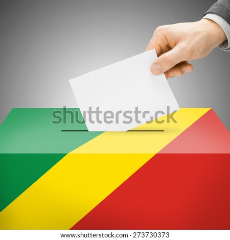 Ballot box painted into national flag colors - Democratic Republic of the Congo - stock photo