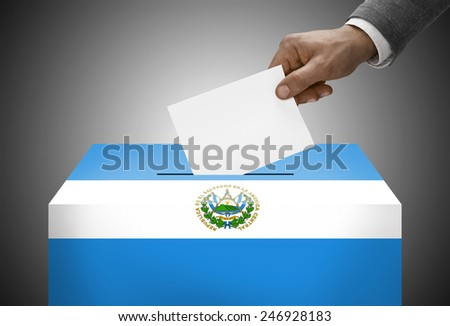 Ballot box painted into national flag colors - El Salvador - stock photo
