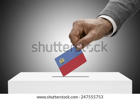Ballot box painted into national flag colors - Liechtenstein - stock photo