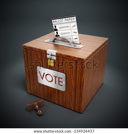 Ballot box, stamp and ballot paper on gray background. - stock photo