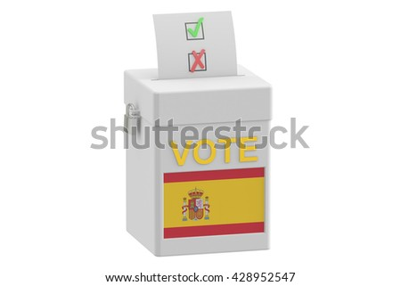 ballot box with flag of Spain, 3D rendering isolated on white background - stock photo