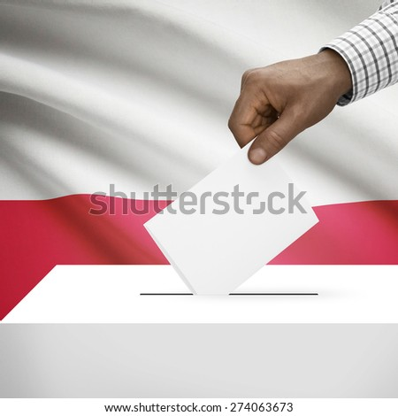 Ballot box with flag on background - Poland - stock photo