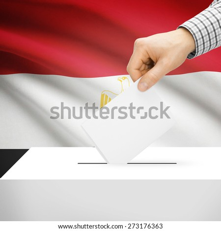 Ballot box with national flag on background series - Egypt - stock photo