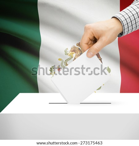 Ballot box with national flag on background series - Mexico - stock photo