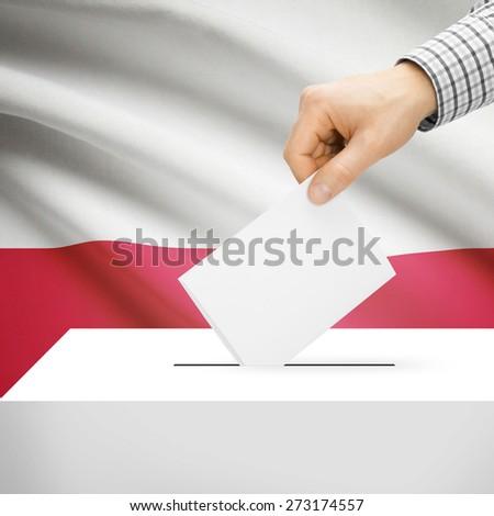 Ballot box with national flag on background series - Poland - stock photo