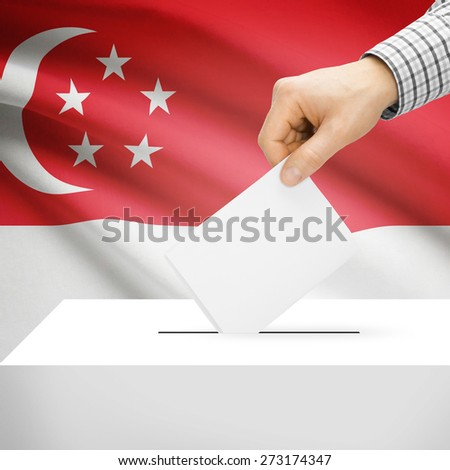 Ballot box with national flag on background series - Singapore - stock photo