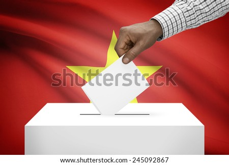 Ballot box with national flag on background - Vietnam - stock photo