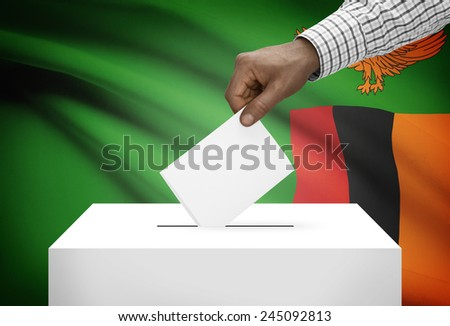 Ballot box with national flag on background - Zambia - stock photo