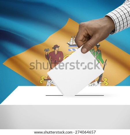 Ballot box with US state flag on background - Delaware - stock photo
