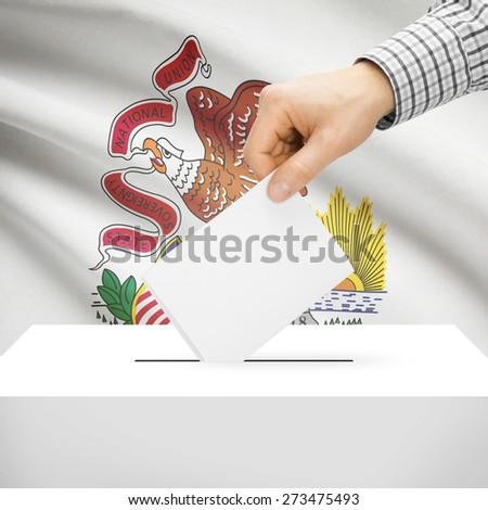Ballot box with US state flag on background series - Illinois - stock photo