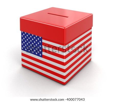 Ballot Box with USA flag. Image with clipping path - stock photo