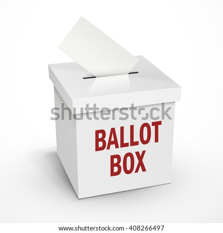 ballot box words on the 3d illustration white voting box isolated on white background - stock photo
