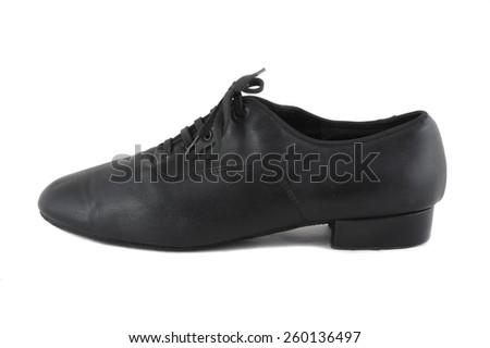 ballroom black leather shoes men's - stock photo