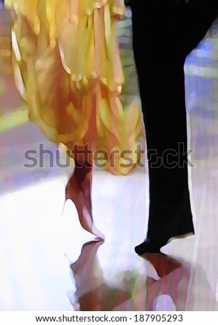 Ballroom dance floor abstract 21, digital painting in yellow, black, white, blue, tan. - stock photo
