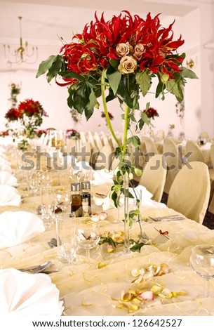Ballroom decorated for wedding reception - stock photo