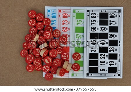balls and bingo cards - stock photo