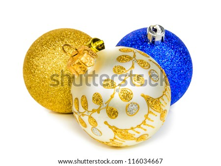 Balls for the Christmas tree. The photo on the white background - stock photo