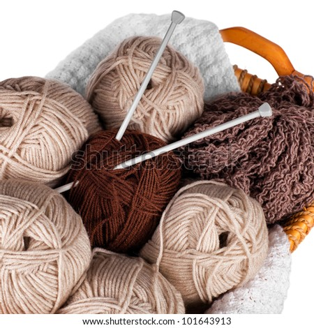 Balls of wool and knitting - stock photo