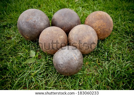 Balls on the grass. - stock photo