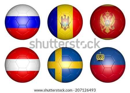 balls with flags of countries: Russia, Sweden, Austria, Montenegro, Moldova, Liechtenstein. - stock photo