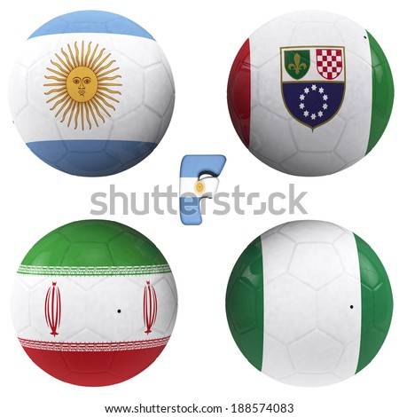 balls with flags of the football teams that make up the f group 2014 brazil isolated with clipping path - stock photo