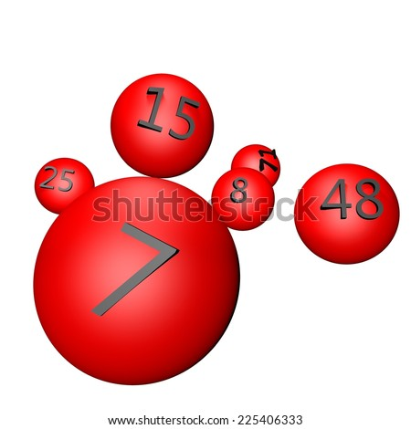 Balls with numbers for lottery, 3d render - stock photo