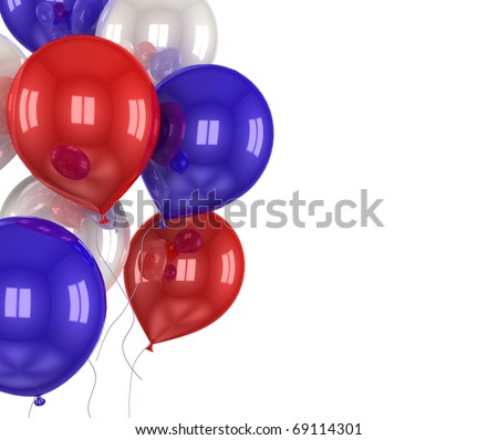 balls with symbols of the U.S. on a white background - stock photo