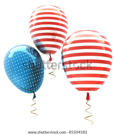 balls with symbols of the U.S. on a white background ( high resolution ) 3d render - stock photo