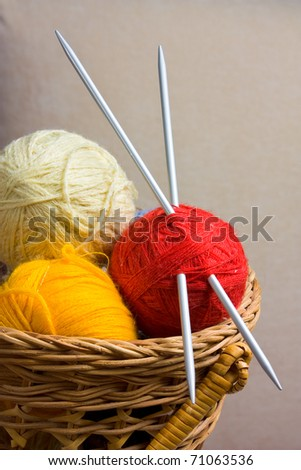 Balls with thread and needles for knitting - stock photo