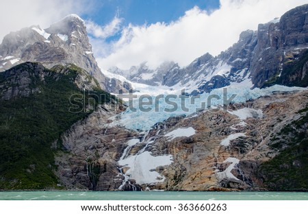 Balmaceda Glacier at the Seno Ultima Esperanza (Last Hope Sound) in Parque Nacional Bernardo OHiggins, Patagonia, Chile - stock photo