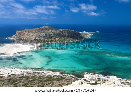 Balos bay at Crete island in Greece. Area of Gramvousa. - stock photo