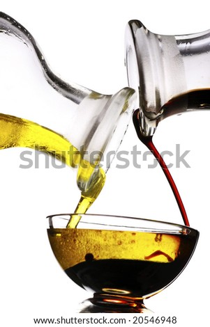 balsamic vinegar and olive oil dressing - stock photo