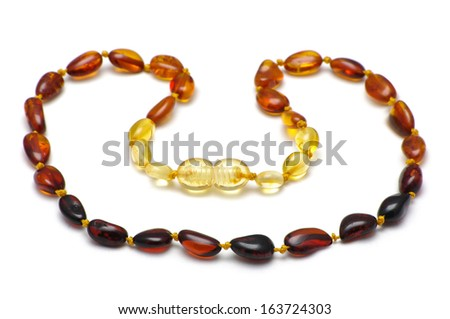 Baltic amber baby necklace, rainbow model - stock photo