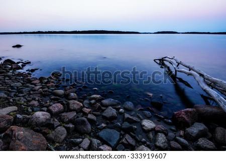 Baltic sea archipelago in sunrise - stock photo