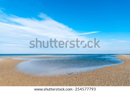 Baltic Sea beach, endless expands, seashore of Poel island - stock photo