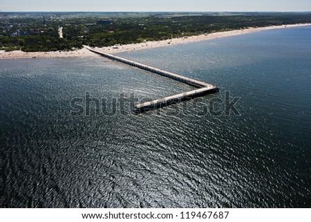 Baltic sea coast, Palanga bridge - stock photo