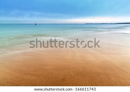 Baltic sea scenery in winter time, Poland - stock photo