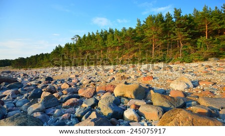 Baltic sea shore, Hiumaa island, Estonia - stock photo