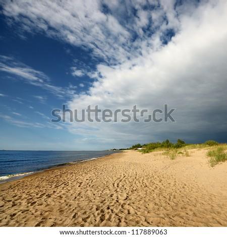 Baltic sea shore. Riga, Latvia - stock photo
