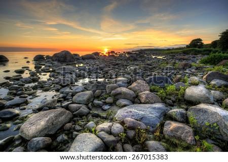 Baltic sea summer sunset - stock photo