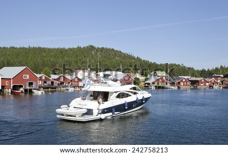 BALTIC SEA, SWEDEN ON JULY 22. Chirundo of Hanko visit the small marina on July 22, 2014 in Trysunda, Sweden. Searching for a place to stay - stock photo