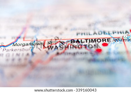 Baltimore close up on map. Shallow depth of field. - stock photo