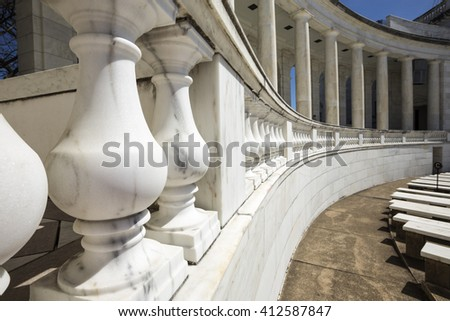 Balustrade raw. Handrail in amphitheater. Close up. Washington DC 2016. Arlington. - stock photo