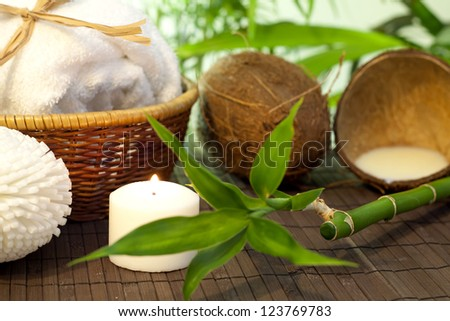 Bamboo and coconut milk spa cosmetic still life - stock photo